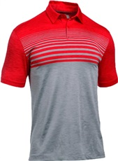 Under Armour Coolswitch Upright Stripe Herren Poloshirt, grau/rot